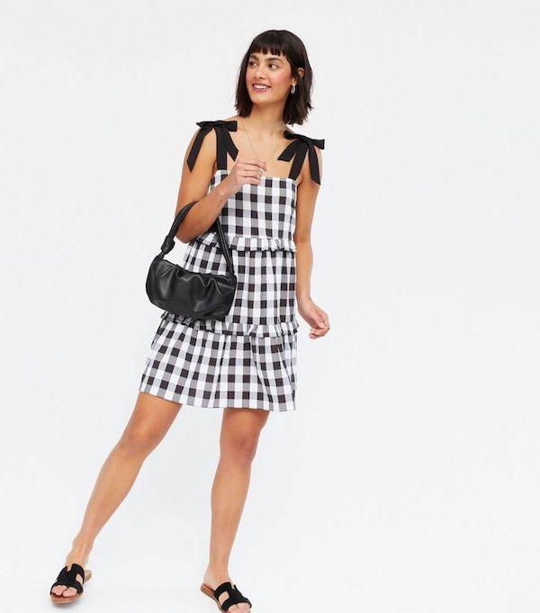 New Look Black Gingham Tiered Tie Strap Mini Dress