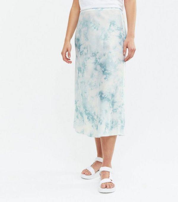 New Look Light Grey Tie Dye Satin Bias Cut Midi Skirt