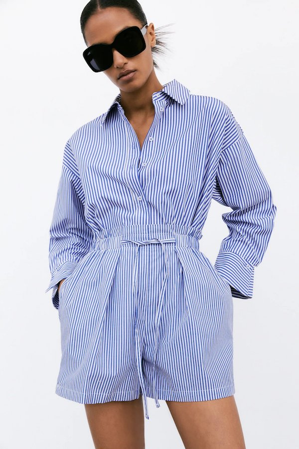 Zara Striped Paperbag Bermuda Shorts