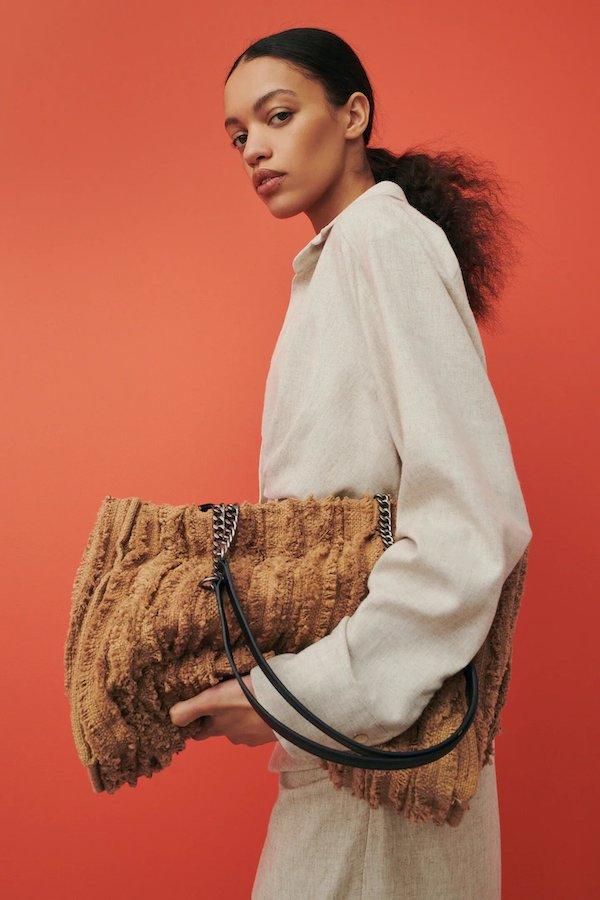 Zara Frayed Fabric Tote Bag