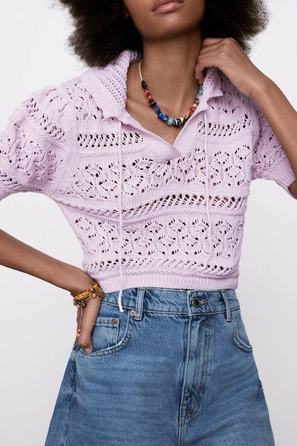Zara Pointelle-Knit Top
