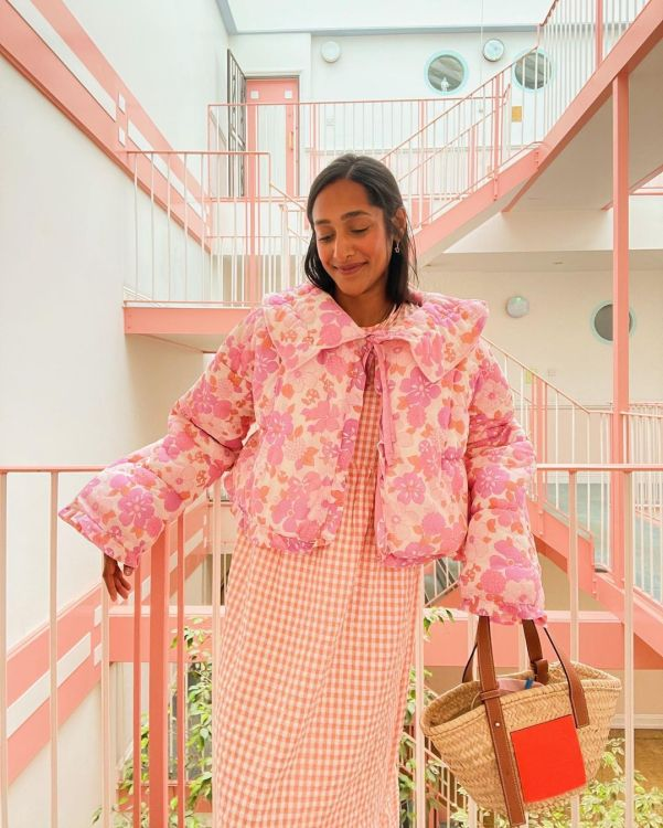 Zeena Shah wearing a quilted jacket from Freya Simonne