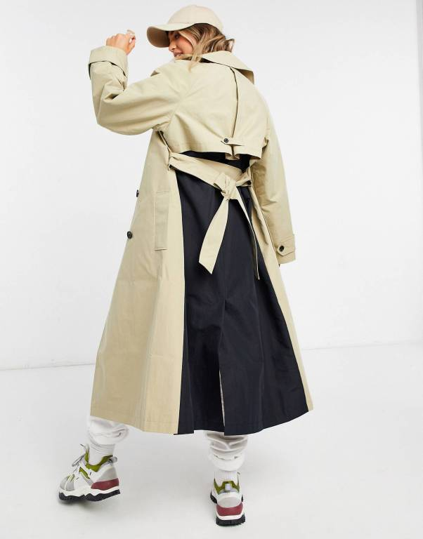 ASOS DESIGN spliced trench coat in black and stone