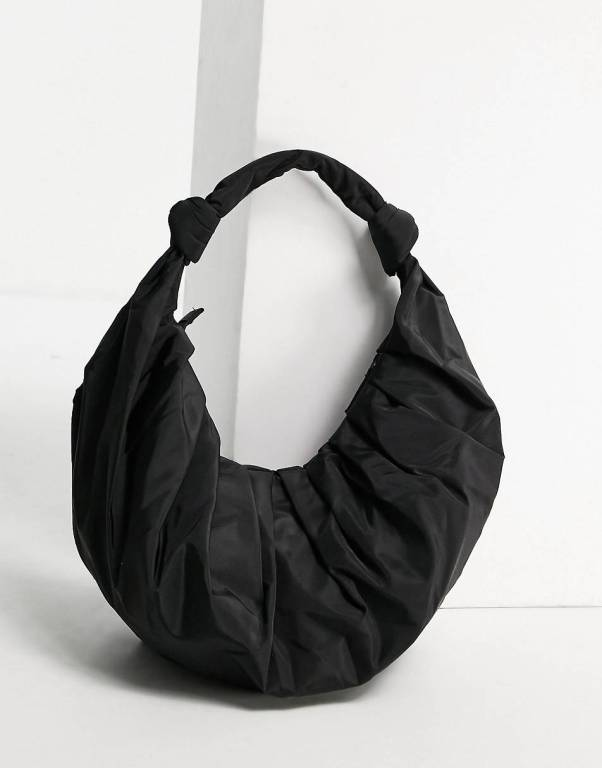 Mango recycled polyester ruched croissant shoulder in black