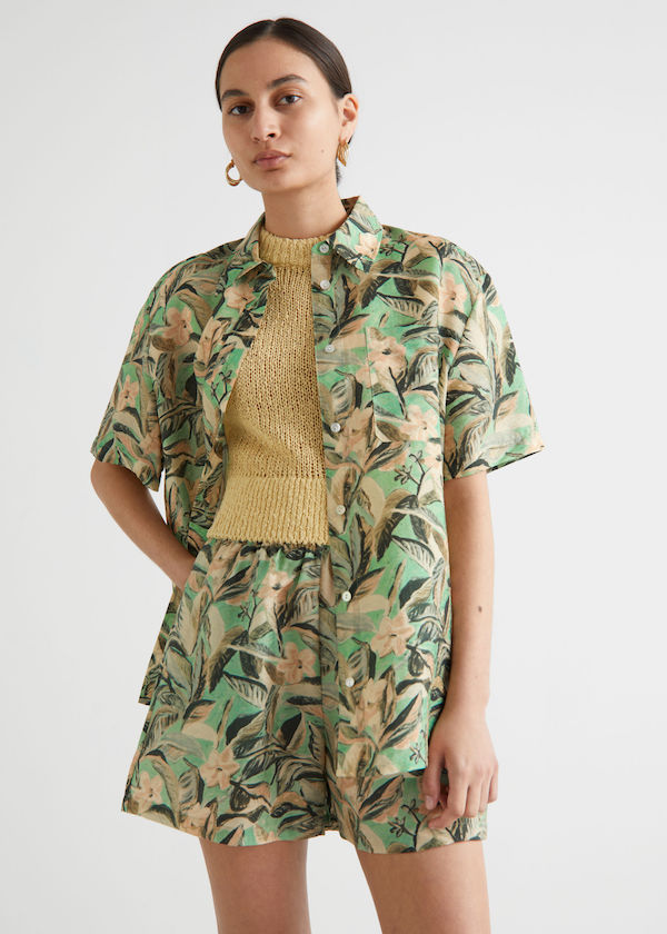 & Other Stories Boxy Floral Print Shirt