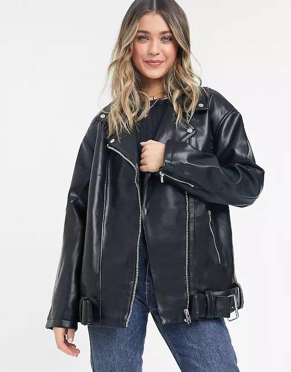 ASOS Longline Oversized Faux Leather Biker Jacket