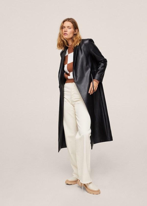 Mango Leather-effect Jacket with Belt