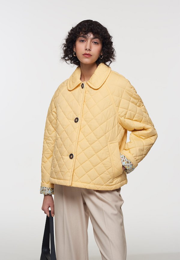 Palones Crop Yellow Quilted Coat