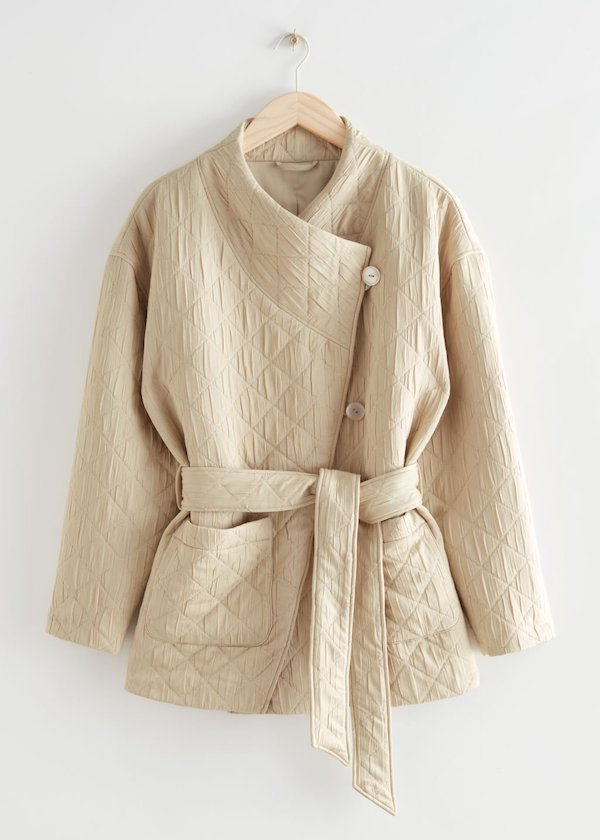 & Other Stories Quilted Wrap Collar Puffer Jacket