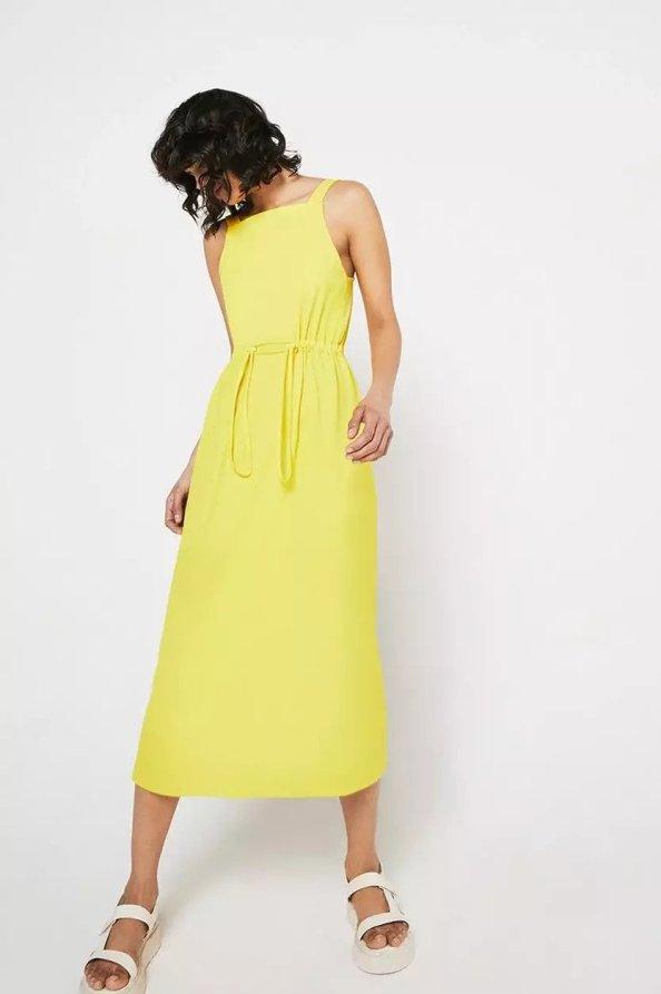 Pique Square Neck Midi Dress warehouse