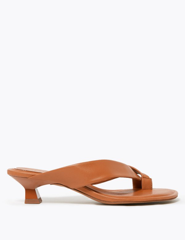 M&S Leather Kitten Heel Toe Loop Sandals