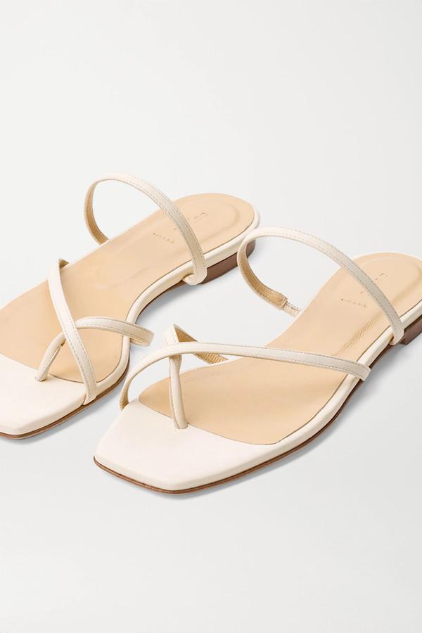 aeyde Cream Marina Leather Sandals