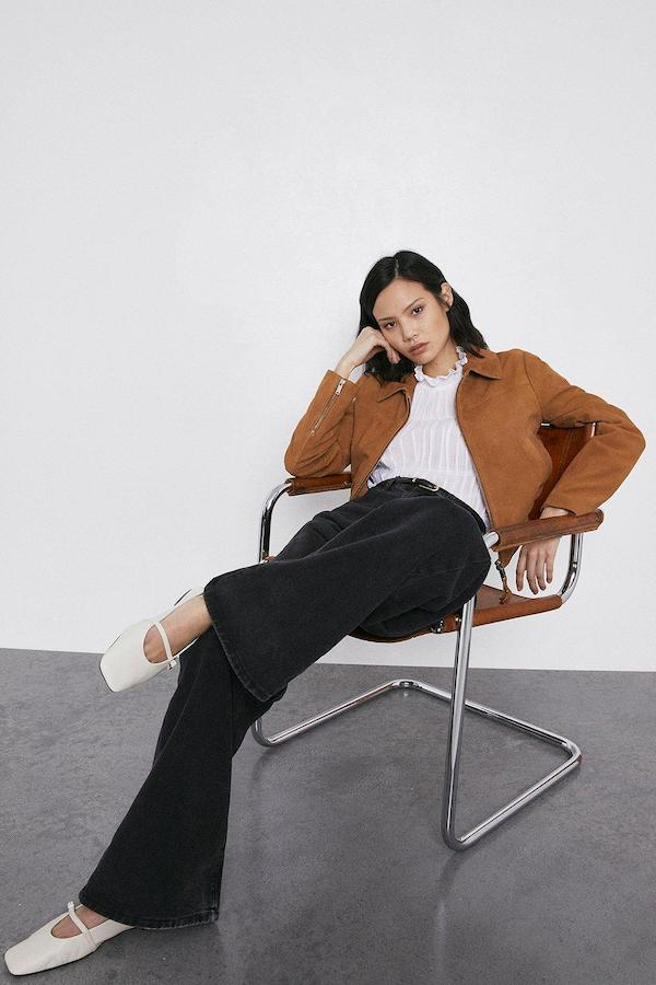 Warehouse Real Suede Bomber Jacket