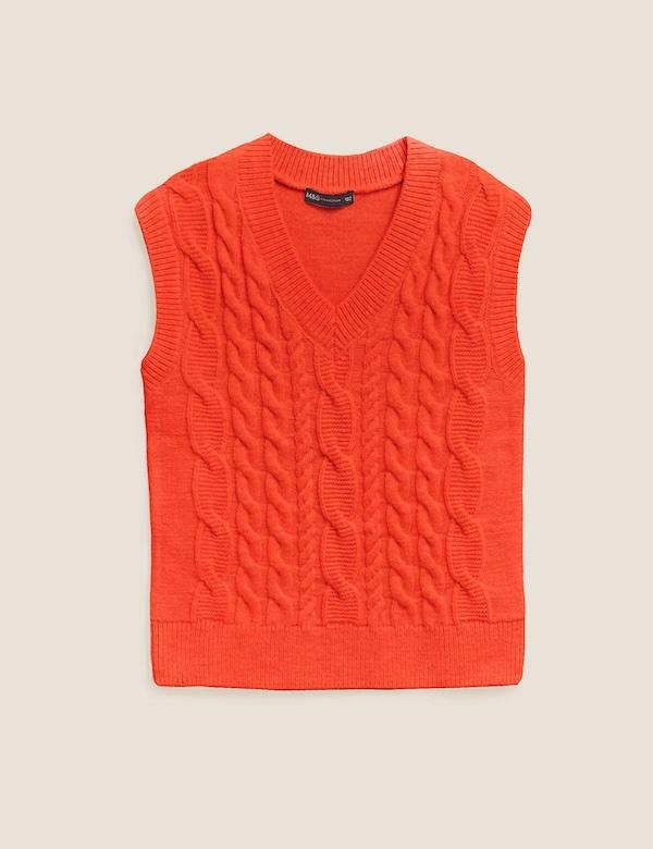 Orange cable knit sweater vest, £29.50, M&S Collection