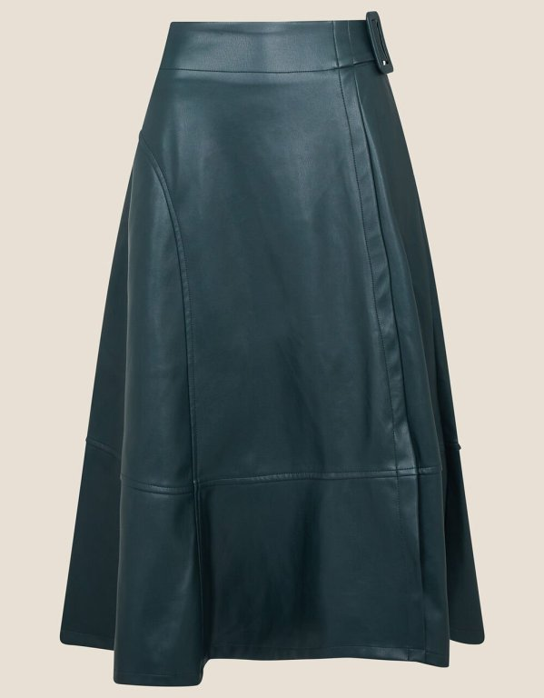 Belted leather look skirt, £60, Monsoon