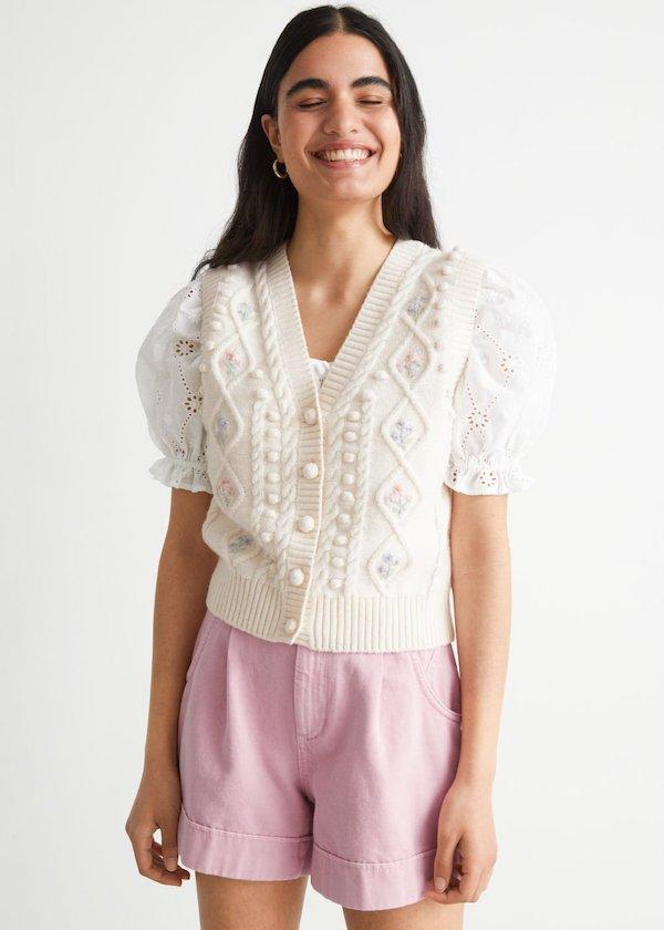 Buttoned Cable Knit Vest