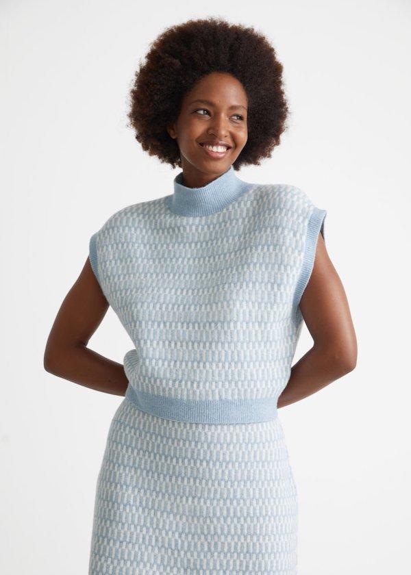Knitted Mock Neck Vest
