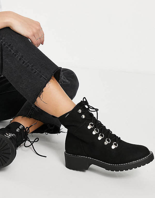London Rebel Wide Fit Chunky Hiker Boots