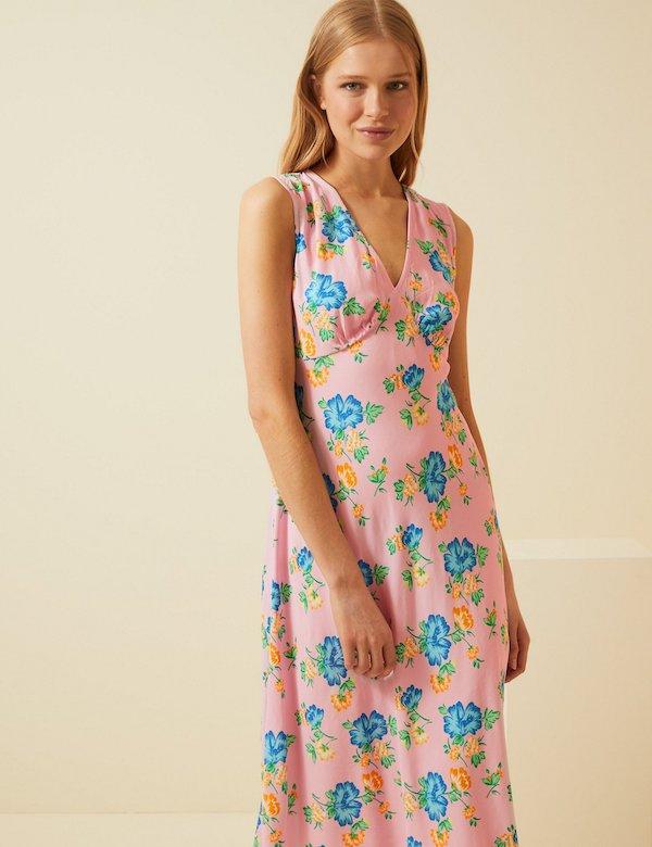 Floral V-Neck Sleeveless Midi Slip Dress M&S x Ghost