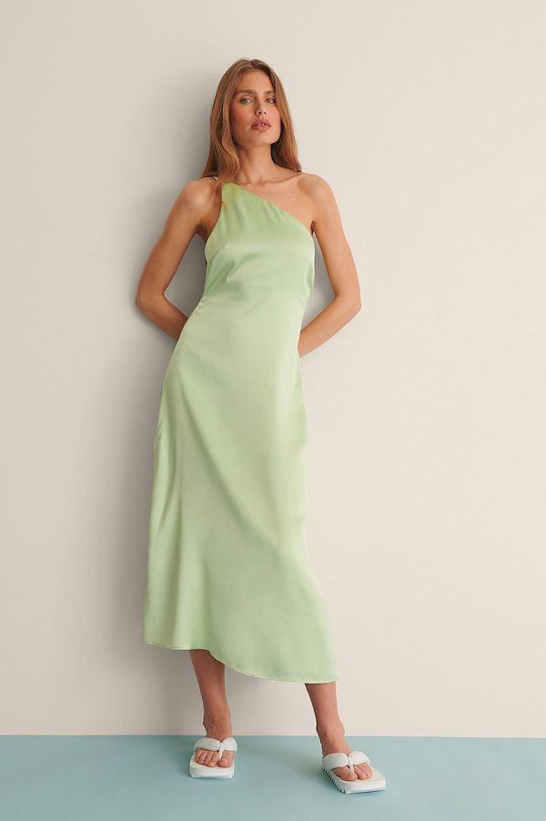 One Shoulder Satin Dress NA-KD