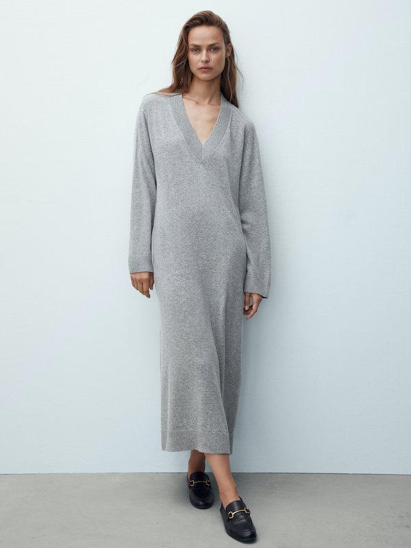 Wool knit V neck dress, £89.95, Massimo Dutti