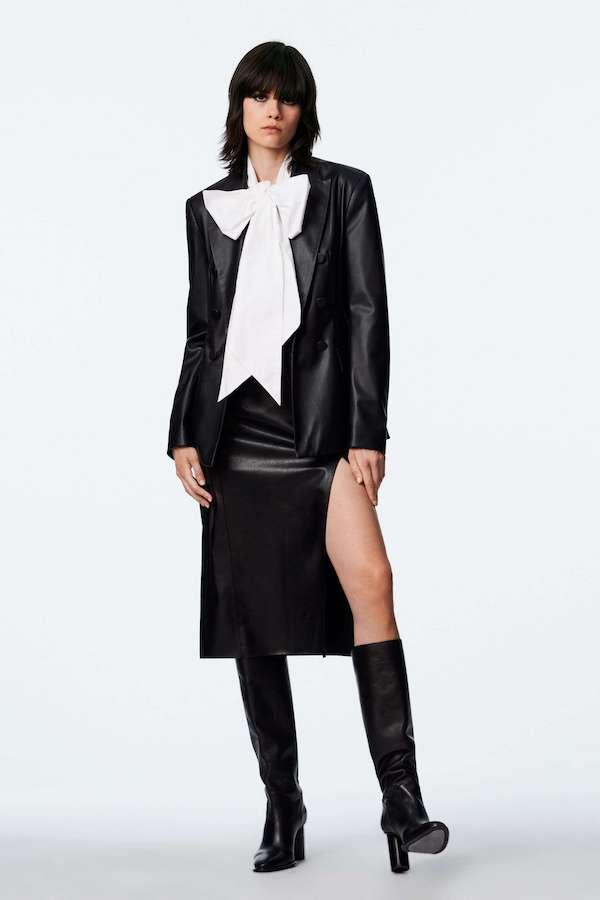 Zara Faux Leather Double-Breasted Blazer