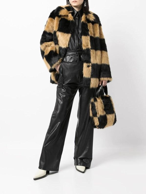 STAND STUDIO check-print spread-collar faux-fur jacket