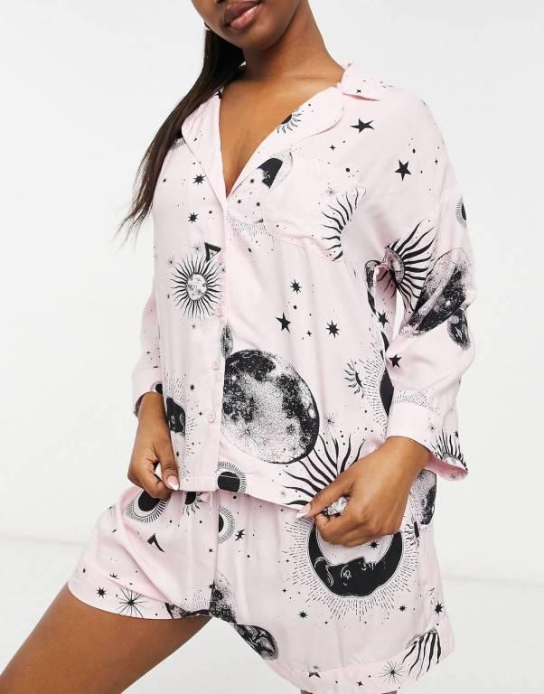 ASOS DESIGN mix & match astrology 100% modal pyjama shirt in pink