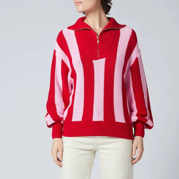 Lorna Pink Stripe Cotton Sweater Kitri at Coggles
