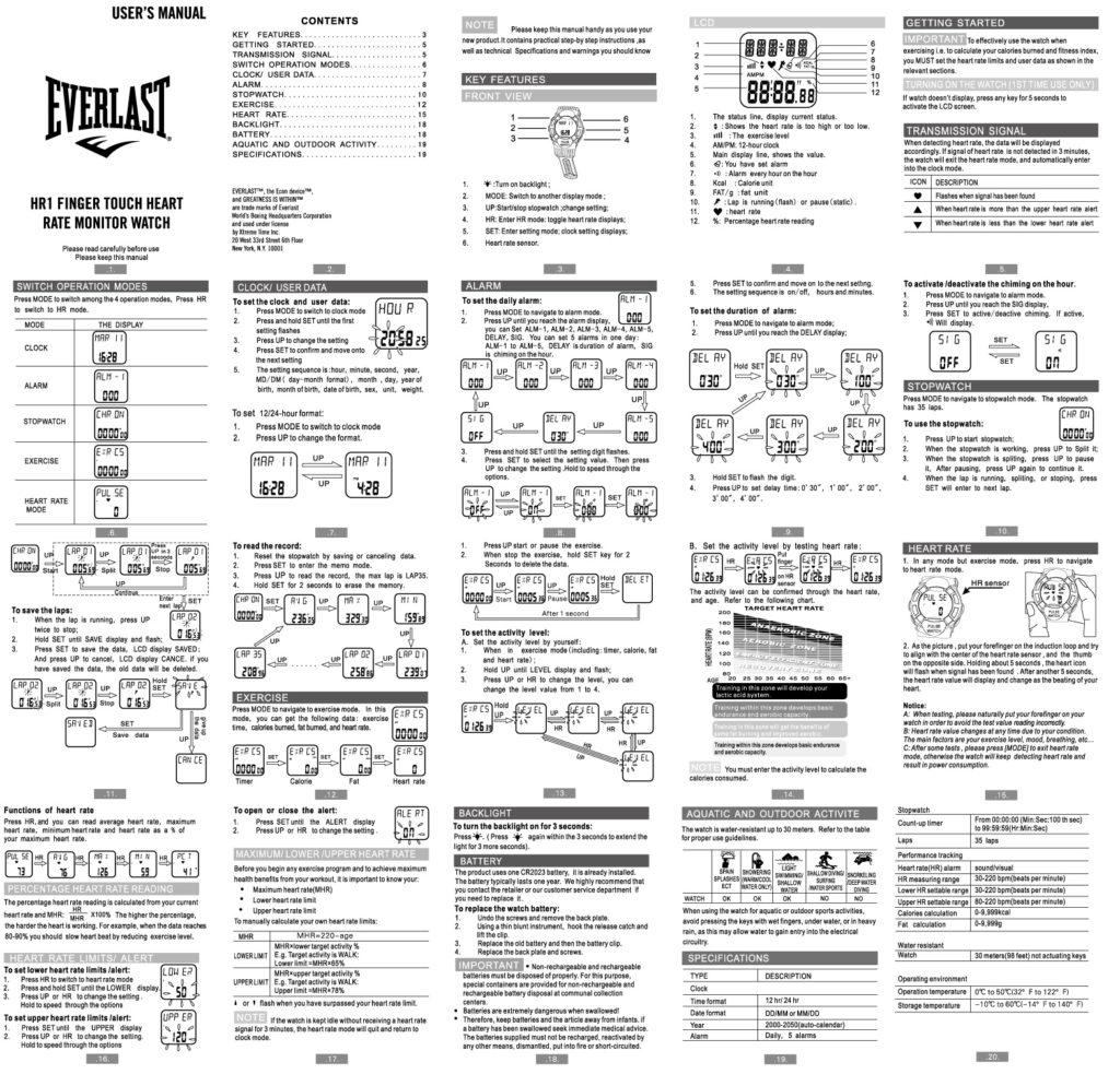 Tracker Fitness Manual Everlast