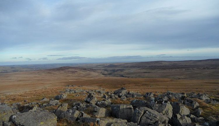 Catterick and Bollihope from the cairn on Carrs Top