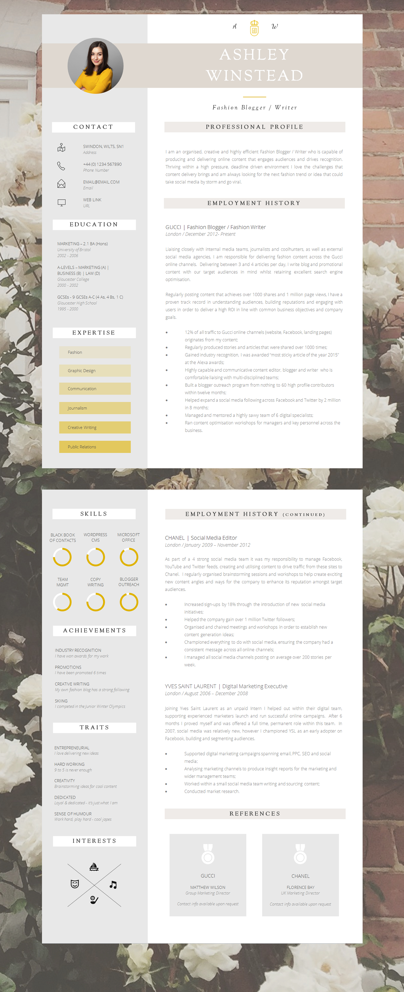 resume templates word 2 pages