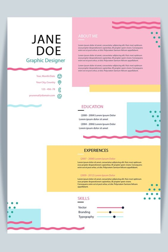 Colourful CV Example