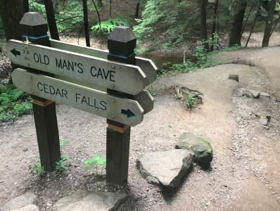 After exploring the wonders of Old Man's Cave, adventurous visitors can take a 2-mile hike to Cedar Falls.