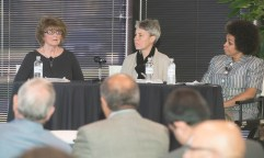 Speakers (left to right): Jacqueline Lewis; Dr. Nicole Wadsworth, D.O., FACOEP, FACEP, Associate Dean for Academic Affairs, Assistant Professor of Emergency Medicine, Heritage of Osteopathic Medicine, Ohio University; Dr. Sara McIntosh, M.D., Medical Director, Maryhaven