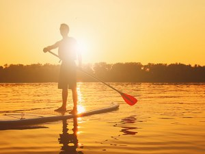 Paddle boarding on Lake Eire