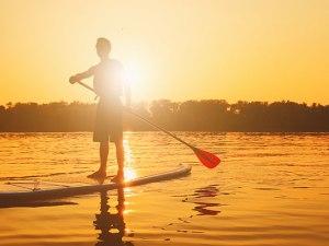 Paddle boarding on Lake Eire