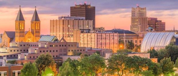 Akron, Ohio, USA downtown skyline at dusk