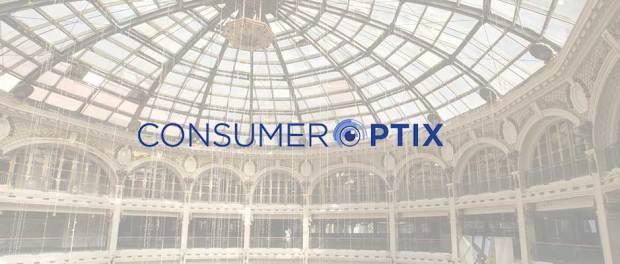 ConsumerOptix Logo over the Dayton Arcade interior