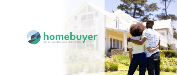homebuyer logo beside a couple standing in front of a house on a residential street