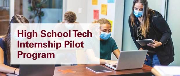 High-School-Tech-Internship-Pilot-Program-students on computers at desk