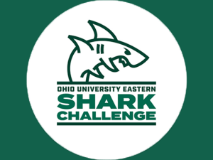 Ohio University Eastern Shark Challenge logo of shark on dark green background