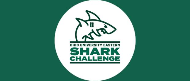 Ohio University Eastern Shark Challenge logo of shark on dark green background