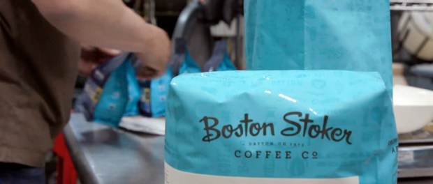 Boston Stoker coffee beans being bagged after roasting