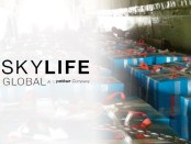 Skylife logo and interior of airplane full of boxes of humanitarian aid