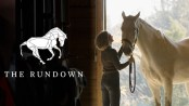 The Rundown logo and a woman in stable with horse.