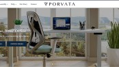 screenshot of website Porvata, an online furniture retailer that provides direct-to-consumer workspace solutions, including customizable stand-up desks and ergonomic chairs.