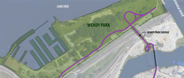 map of The Wendy Park Bridge links the Cleveland Foundation Centennial Trail Lake Link to Wendy Park on Whiskey Island and Lake Erie.