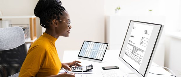 healthcare-business-black-woman-charting-online-medical