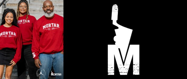 Mortar lands grant from Jordan Brand - group of employees with Mortar logo sweatshirts on